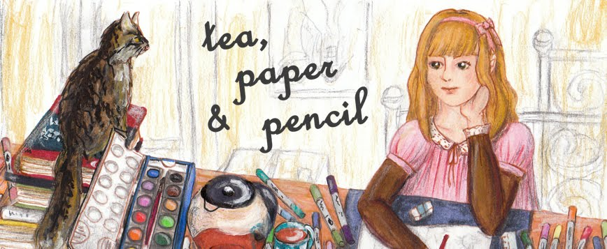 tea, paper and pencil