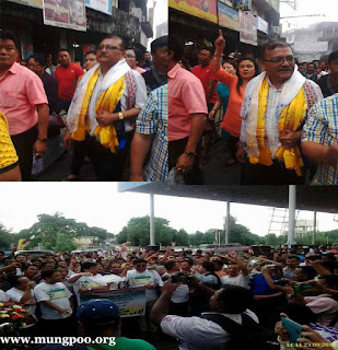 Grand welcome to Rohit Sharma at Bagdogra airport by Morcha supporters