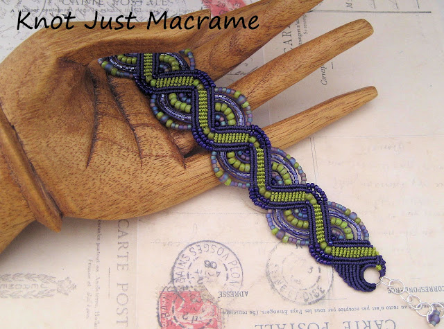 Micromacrame bracelet in chartreuse green and purple from Knot Just Macrame