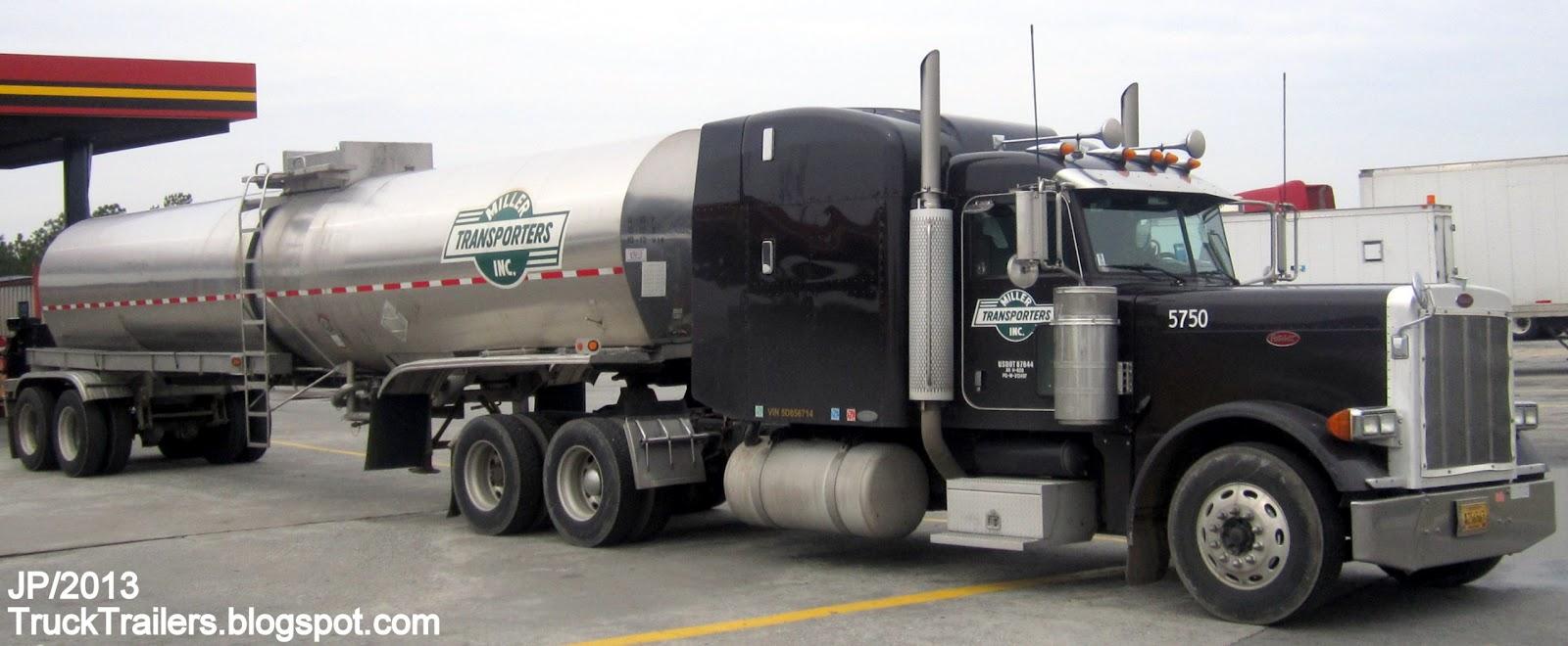 Miller transporters inc peterbilt sleeper cab truck stainless steel tank trailer bulk commodity miller transport trucking company jackson ms