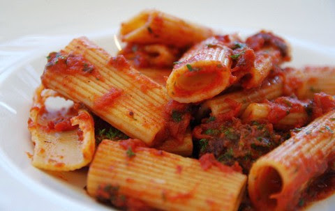 Spicy pasta with sausage ragu