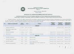 2017 PRC Examinations Schedule