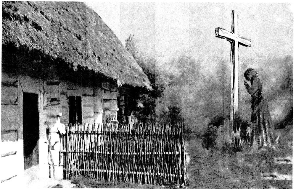 Grzybów Stary k. Stąporkowa. Legenda drewnianego krzyża: pod wieczór, pod krzyżem ujrzał postać kobiety, klęczącej i gładzącej ręką krzyż... Rysunek (technika łączona) Adam Kubka.