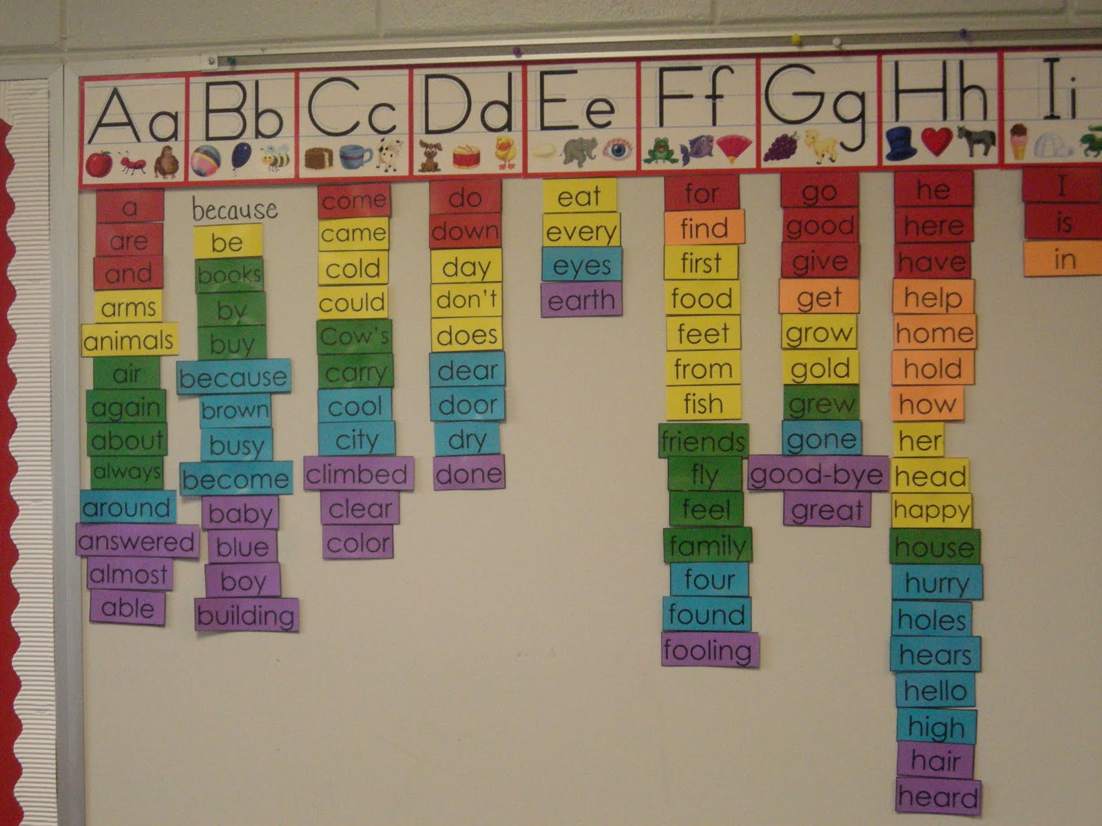Classroom Word Wall Ideas ~ F is for first grade word wall