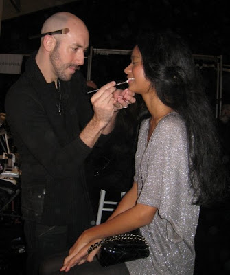Victor Cembellin, Nanette Lepore Fashion Week, backstage, makeup artist, model