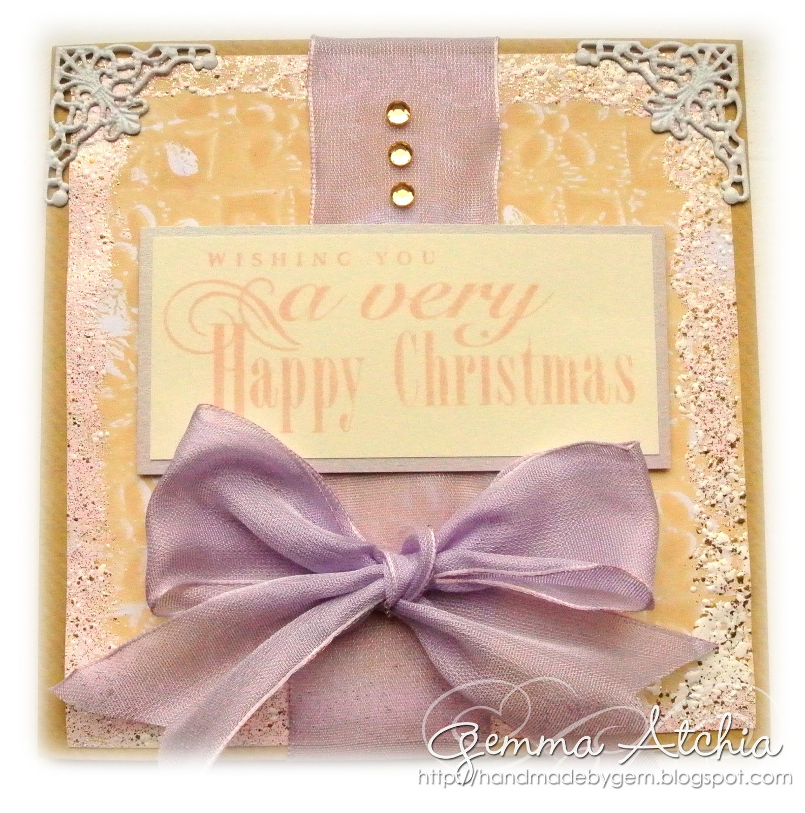 happy christmas card, bows, gelli plate, embossing powder
