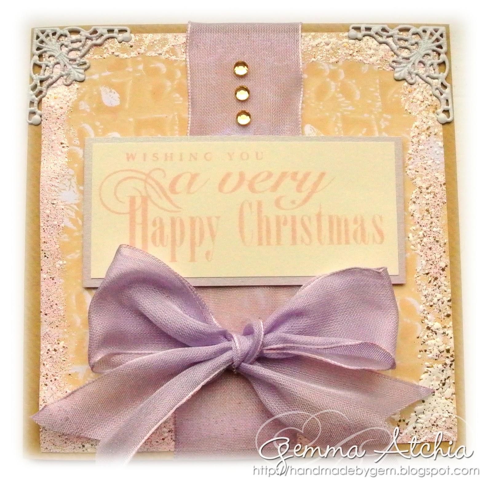 happy christmas card, bows, gelli plate, embossing powder