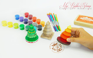 Kit includes 1 personalized rubber stamp, 18 acrylic paints, 5 brushes & 1 ink pad