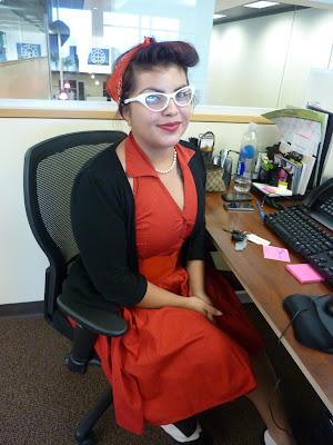 50's girl halloween costume at desk