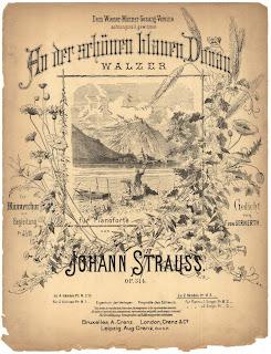 Imagen con el cartel original del Vals Danubio Azul, An der schönen blauen Donau, the Johann Strauss hijo, febrero de 1867