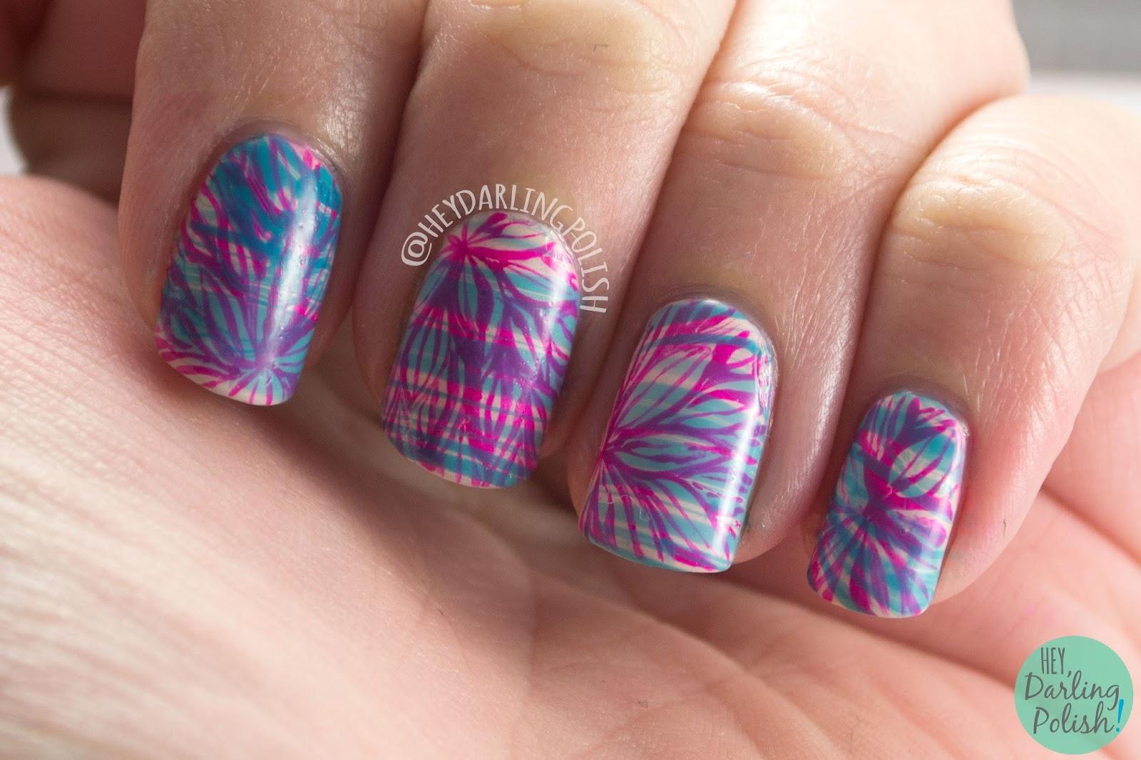 nails, nail art, nail polish, floral, watermarble, hey darling polish, 2015 cnt 31 day challenge, pink, blue
