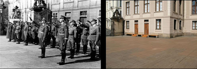 Heydrich at Hradcany Castle Then and Now