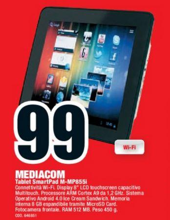 Mediaworld propone a 99 euro lo smartpad 855i con Android 4 ICS