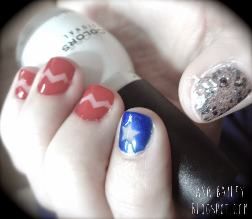 Red white and blue nails, chevrons and stars