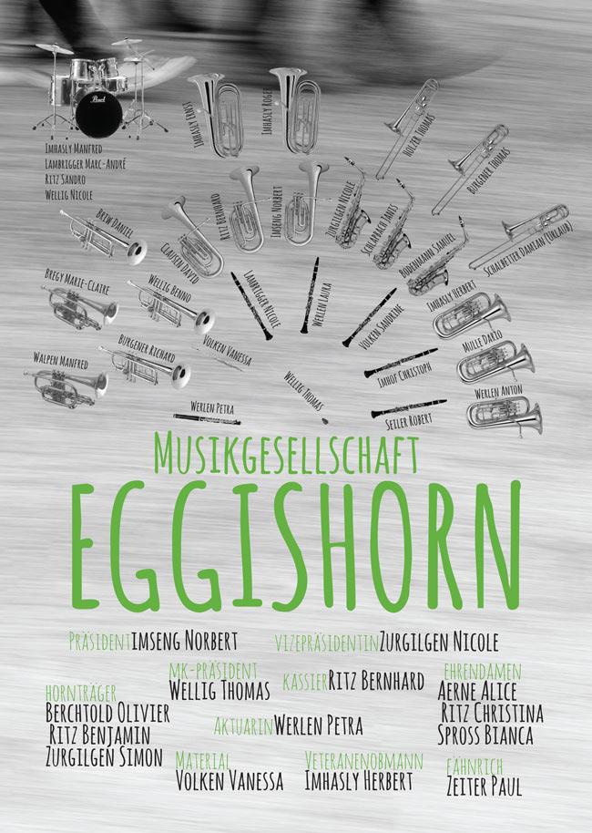 Aufstellung Musikgesellschaft Fiesch Eggishorn Sponsoren Hornträger und Ehrendamen Aktuar Kassier