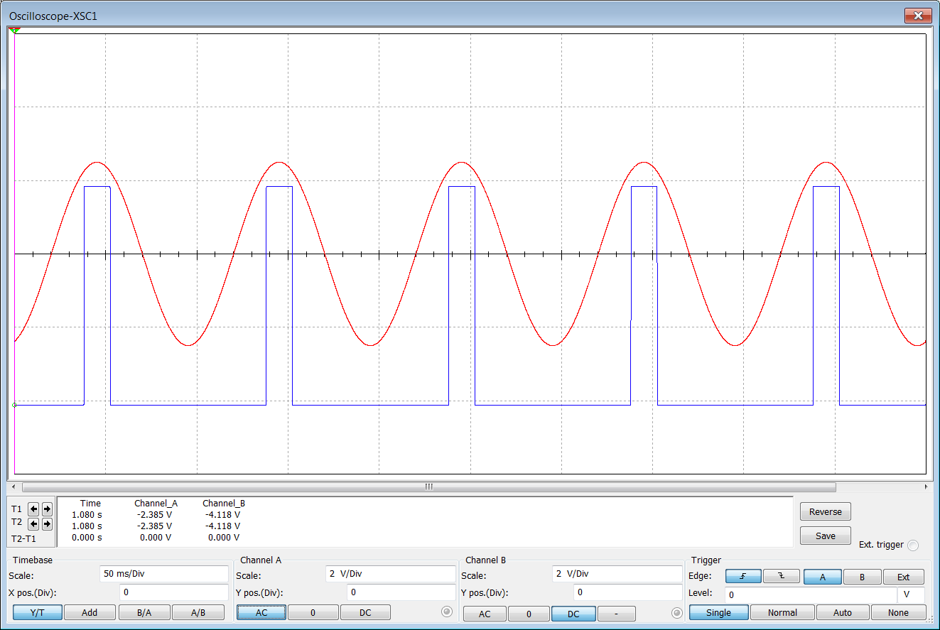 The Answer Is 42 How To Make An Op Amp Into A Comparator Design 4 Bit Circuit And Red Trace Shows Sine Wave From Signal Generator At Non Inverting Input Blue Output Of