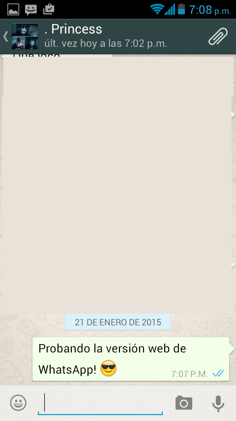 WhatsApp móvil sincronizada con la web.