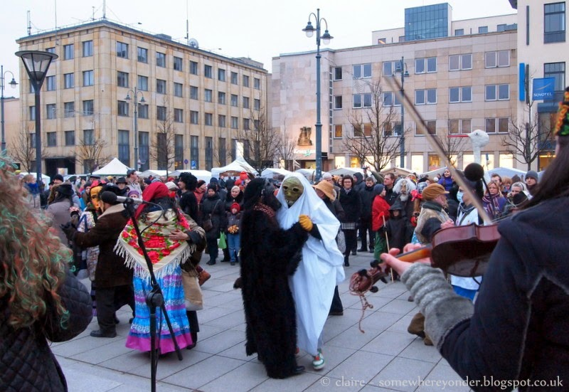 Locals dressed up and dancing to live folk music - Užgavénés - Vilnius, Lithuania