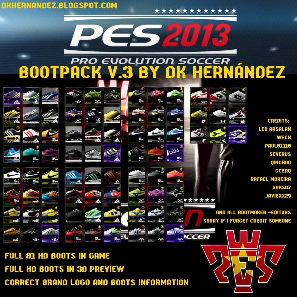 Trazemos o Volume 3 do Super Pacote de Chuteiras para o seu PES 2013.