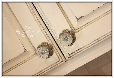 French Farmhouse Kitchen- Annie Sloan Chalk Paint Old Ochre- Glass Cabinet Knobs