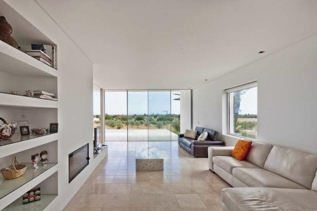 white living room Modern House with Pool in Tavira