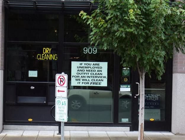 When this dry cleaner decided to offer their services to anyone in need – for free.