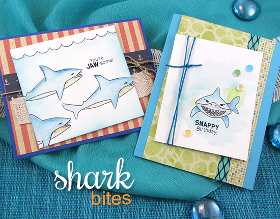 Jaw-some Cards by Jennifer Jackson | Shark Bites Stamp set by Newton's Nook Designs