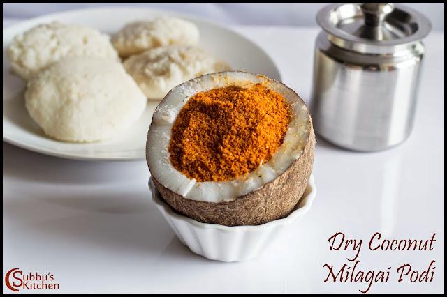 Kopparai Thengai Idli Milagai Podi Recipe | Dry Coconut Idli Milagai Podi Recipe