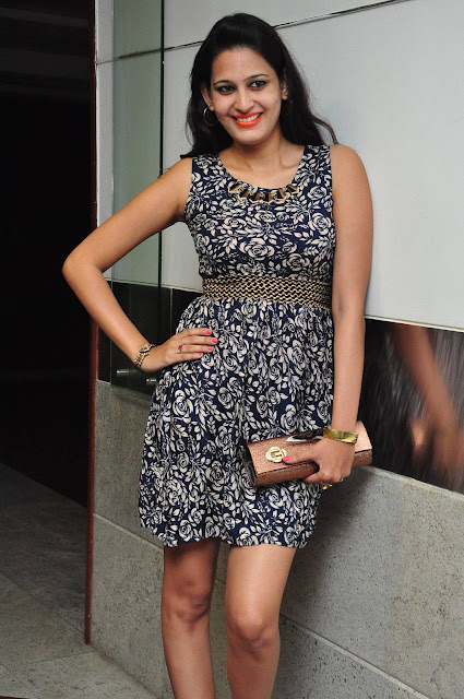 Swetha Jadhav Latest Stills in Blue Floral Short Skirt