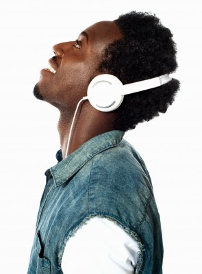 joyful man with headphones