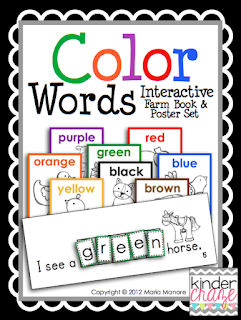 interactive emergent reader and poster set to teach color words, $4