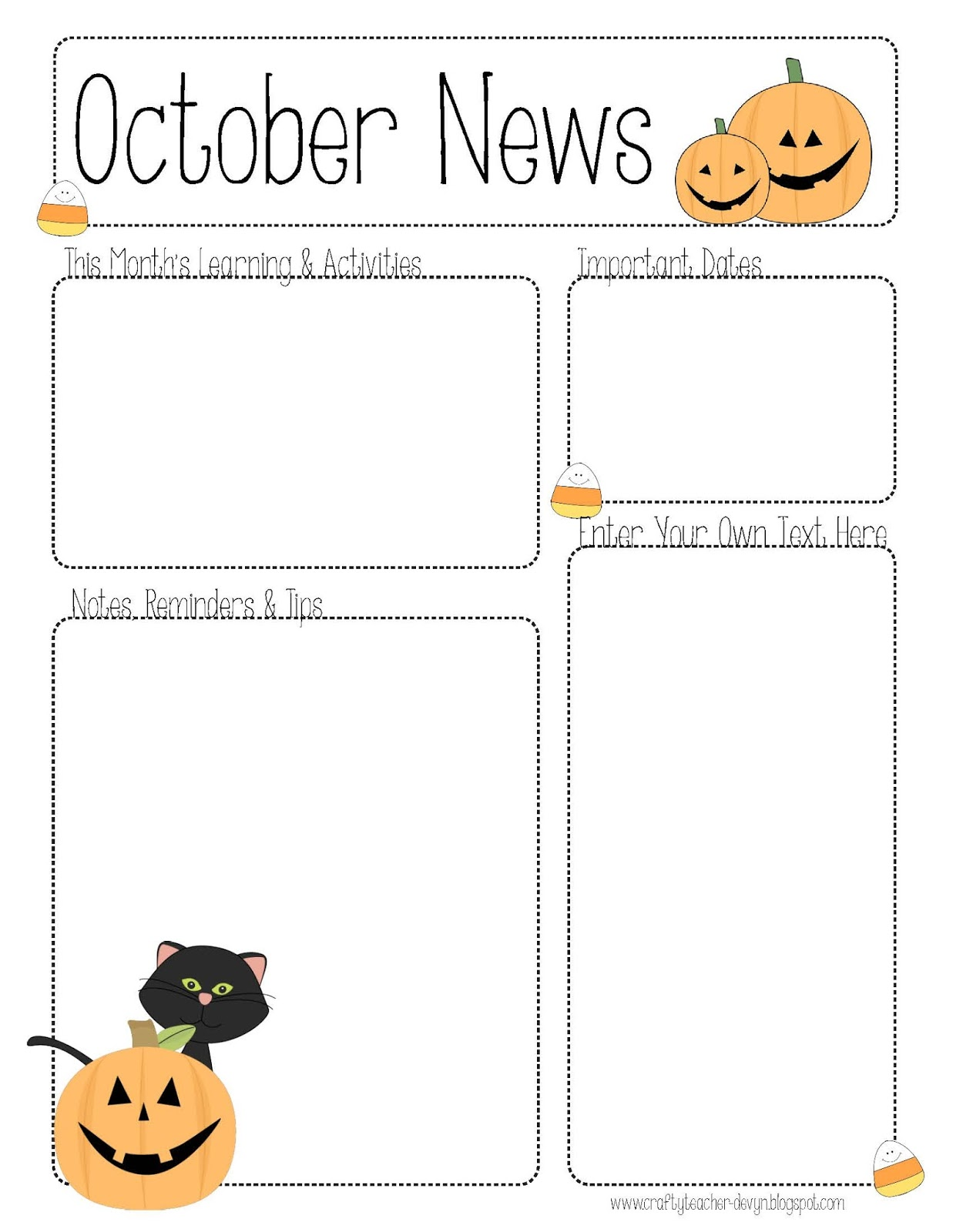 October newsletter template the crafty teacher for Free editable newsletter templates for teachers