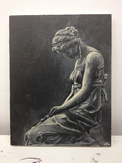 Acrylic painting, art battle, Rumble House, black and white, statue