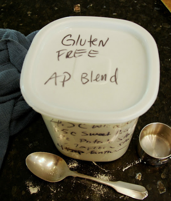 gluten free all purpose blend written on white lid of flour container