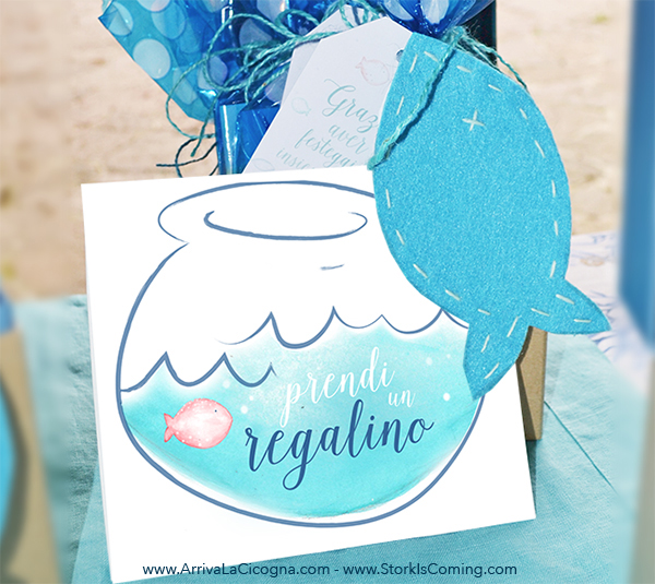 handmade favour bag for underwater party