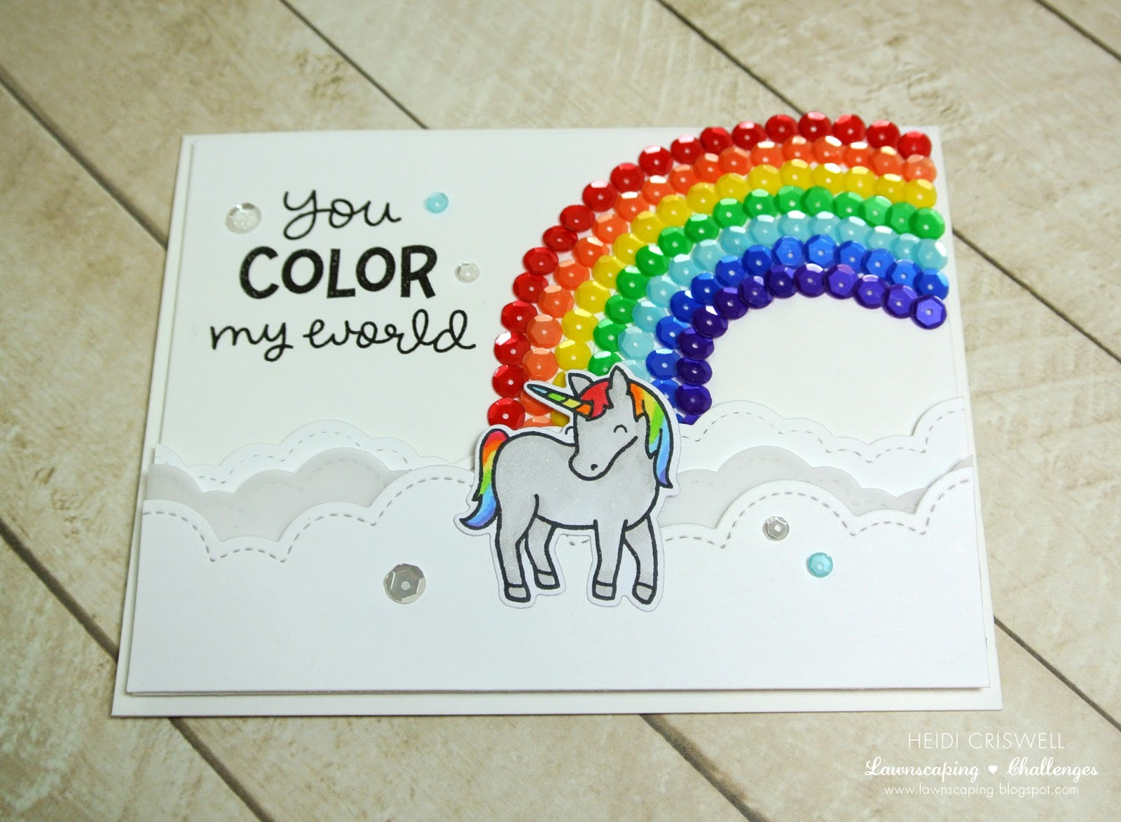 You Color My World Rainbow Card