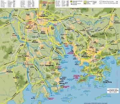 mapa rodoviario Sul da China