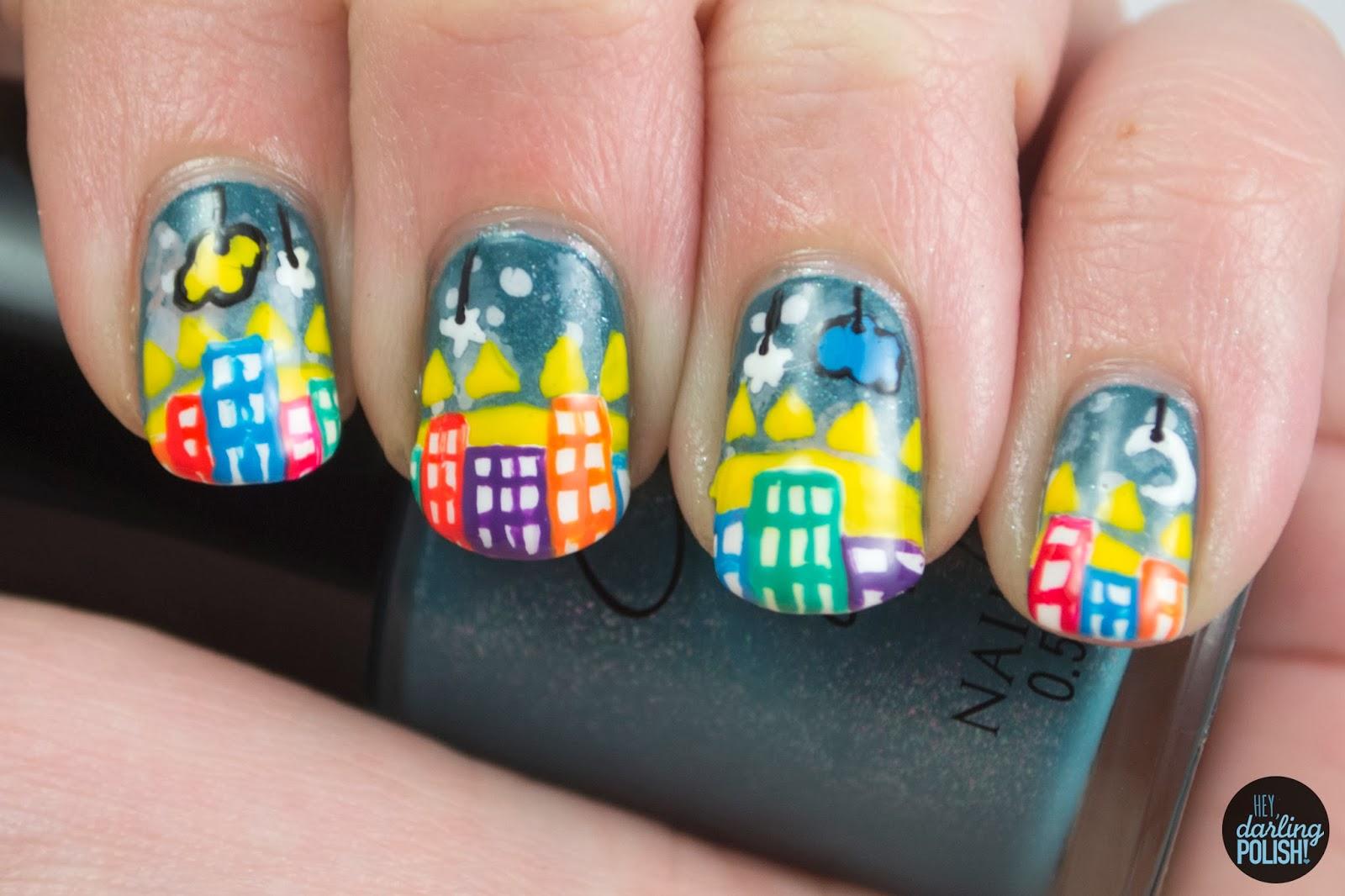 nails, nail art, nail polish, polish, music monday, the morning of, the world as we know it, hey darling polish