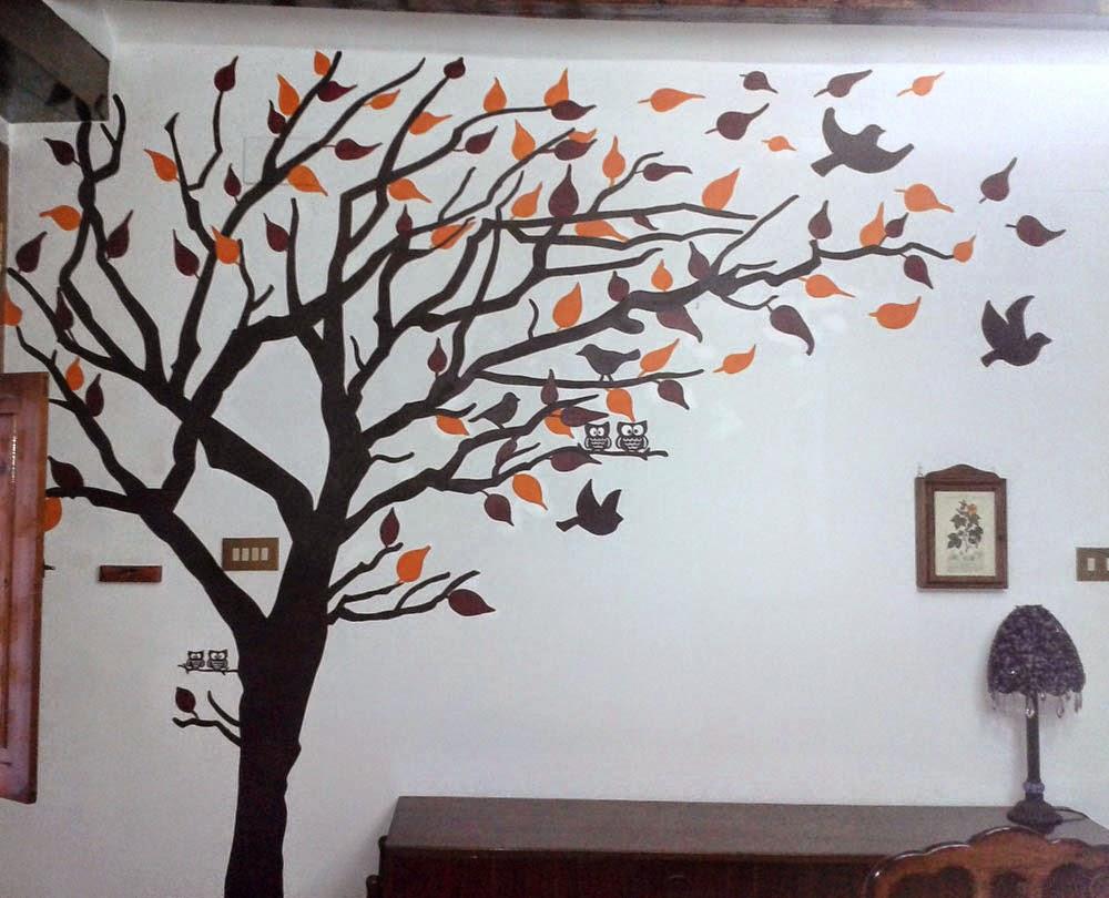 Diy mural rbol con hojas geno dise o arte for Murales faciles y creativos
