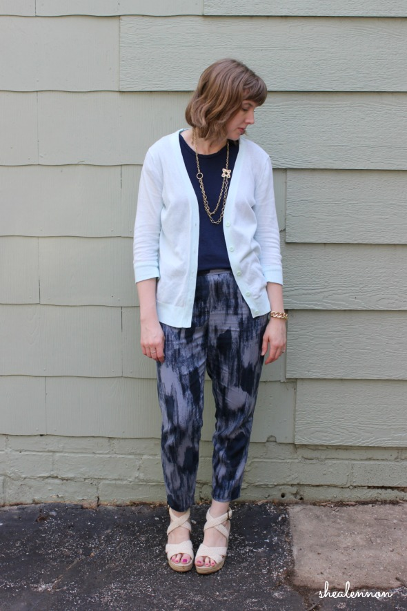 Joggers with cardigan and wedges for work | www.shealennon.com