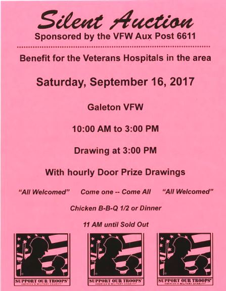 9-16 Silent Auction Galeton VFW