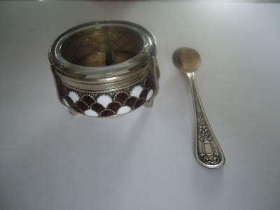 Russian Melhior/Soviet Era Enamel & Silver Alloy Salt, Spoon marked UMMET