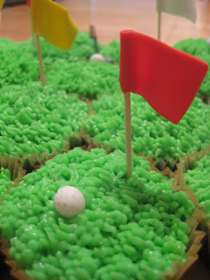 Golf Themed Cheesecake Brownie Cupcakes - Close Up View of Flag and Golf Ball 2