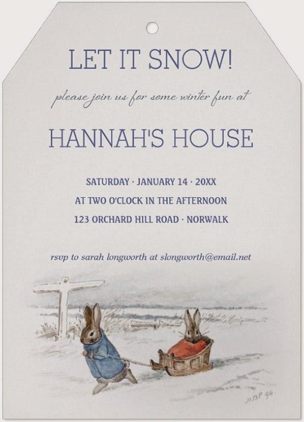 A Storybook Life Beatrix Potter Rabbits Sledding Snow Winter Party