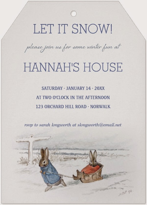 A Storybook Life Beatrix Potter Rabbits Sledding Snow Winter Party