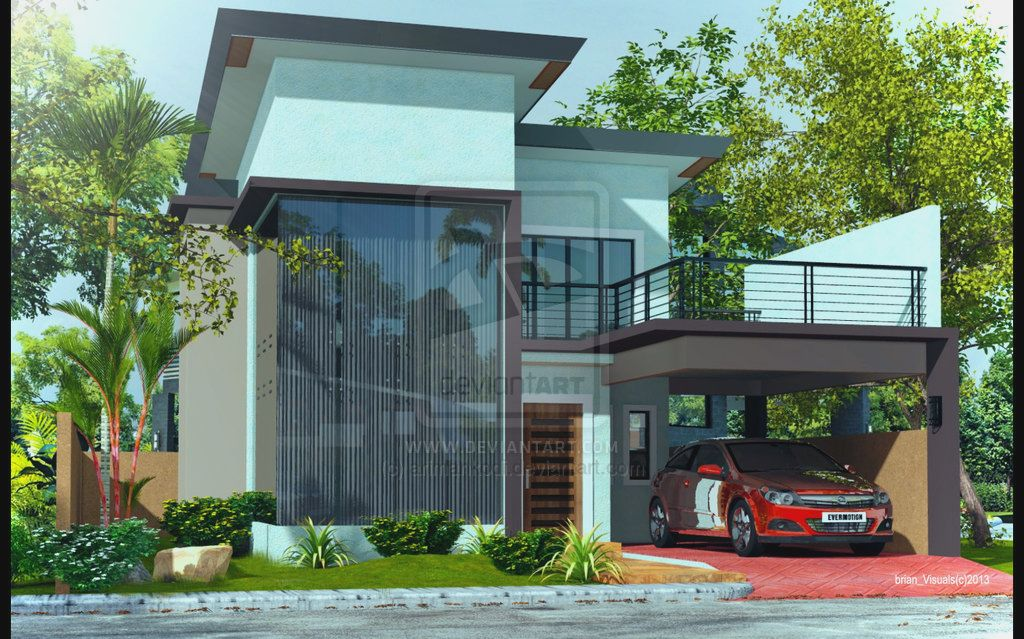 Beautiful small houses with lots of green trees plants Modern 2 storey house