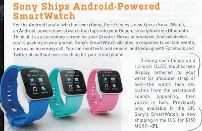 Sony ships Android-Powered SmartWatch, MaximumPC, Jul. 2012, p. 9