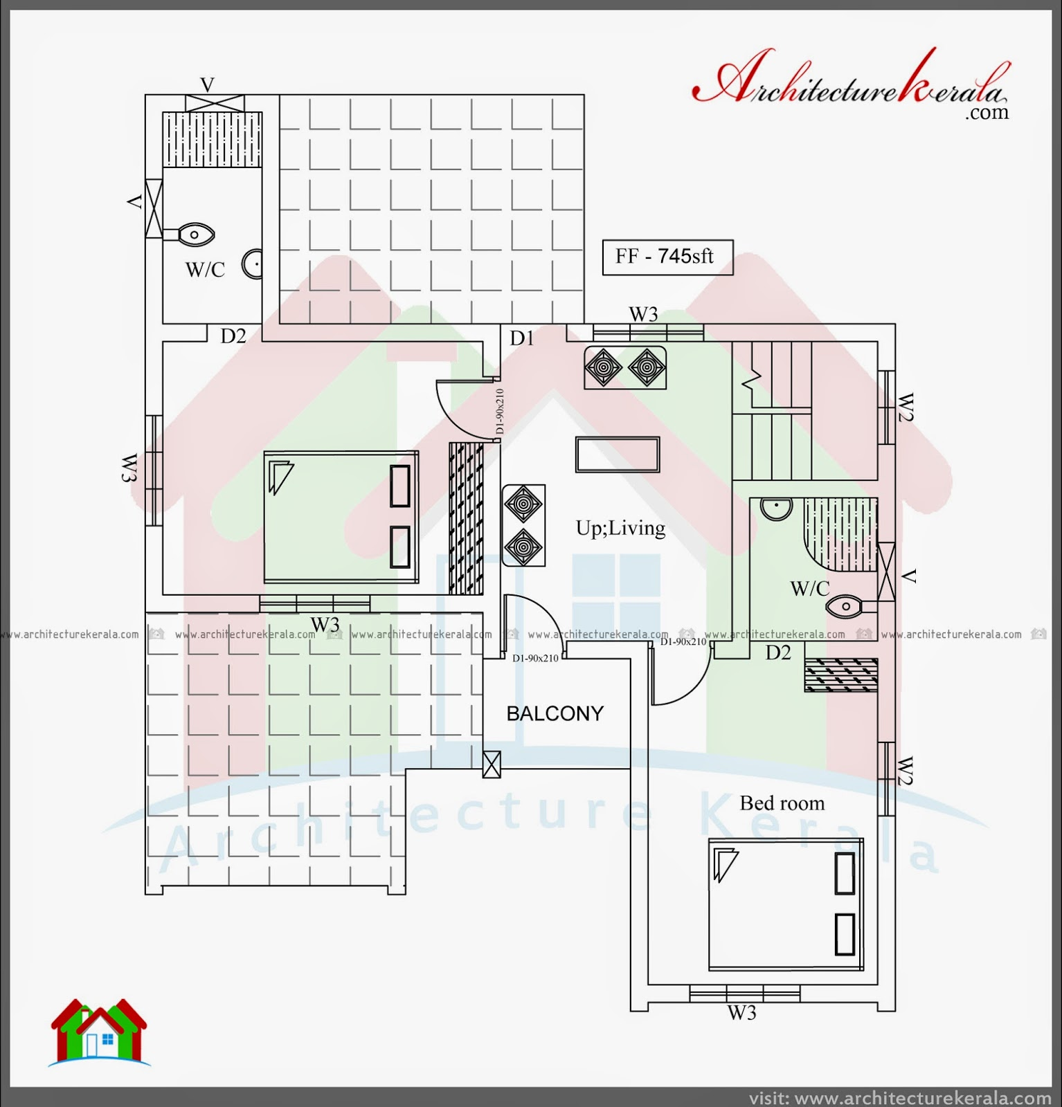Three bedroom two storey house plan architecture kerala Ground floor 3 bedroom plans