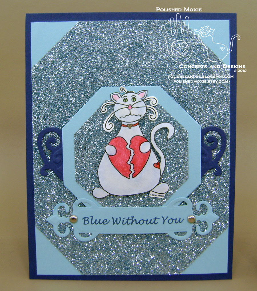 Picture of handmade monochromatic blue missing you cat card