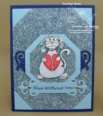 Front of my missing you cat card in blue.
